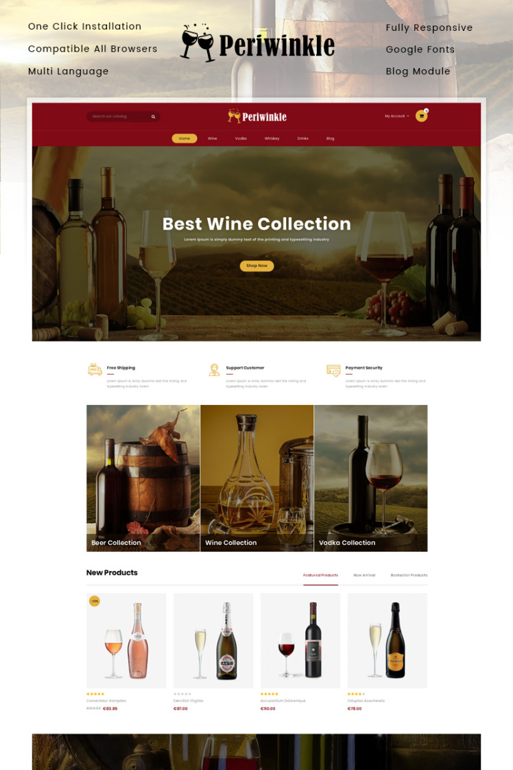 Periwinkle Wine Store PrestaShop Themes