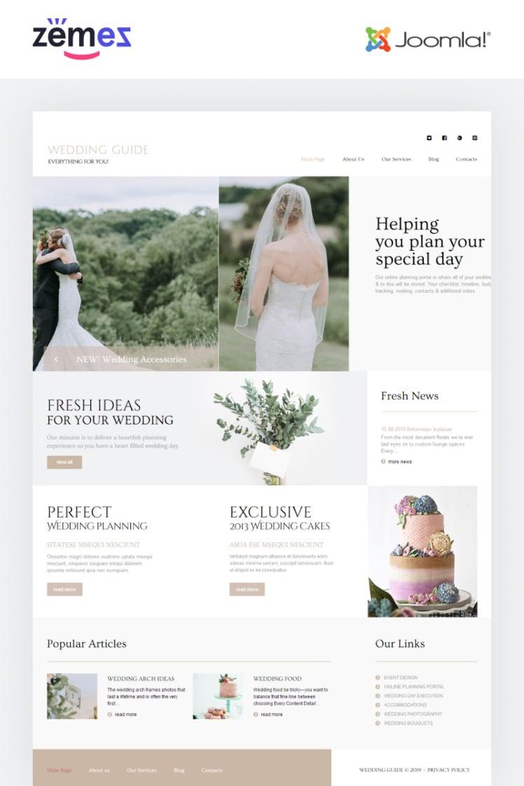 Wedding Guide Wedding Planner Multipage Stylish Joomla Templates