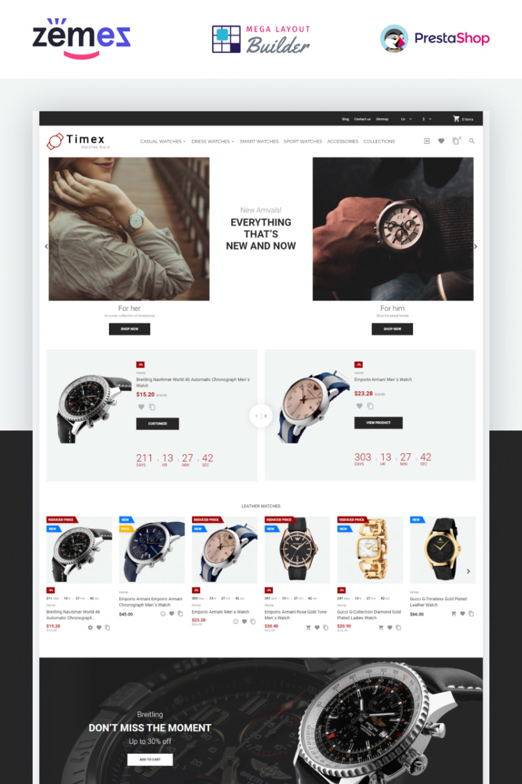 Timex Watches Store Template PrestaShop Themes