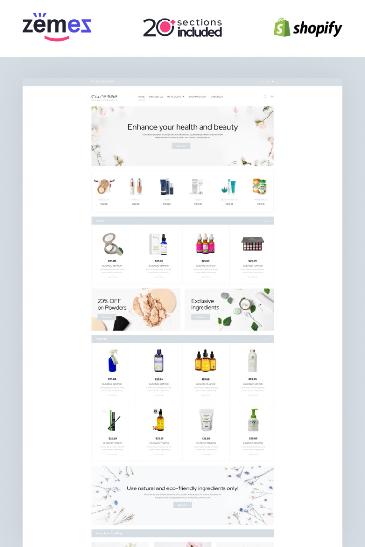 Curesse Spa Cosmetics Store Shopify Themes