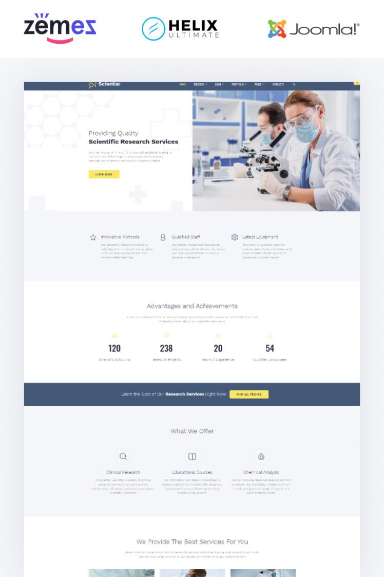 Scientar Science Lab Multipage Joomla Templates