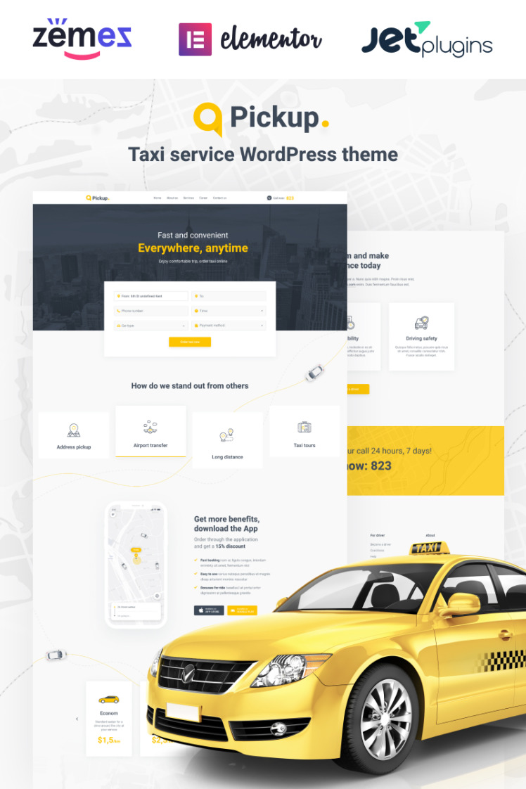 Pickup Fast And Reliable Taxi Service Website WordPress Theme
