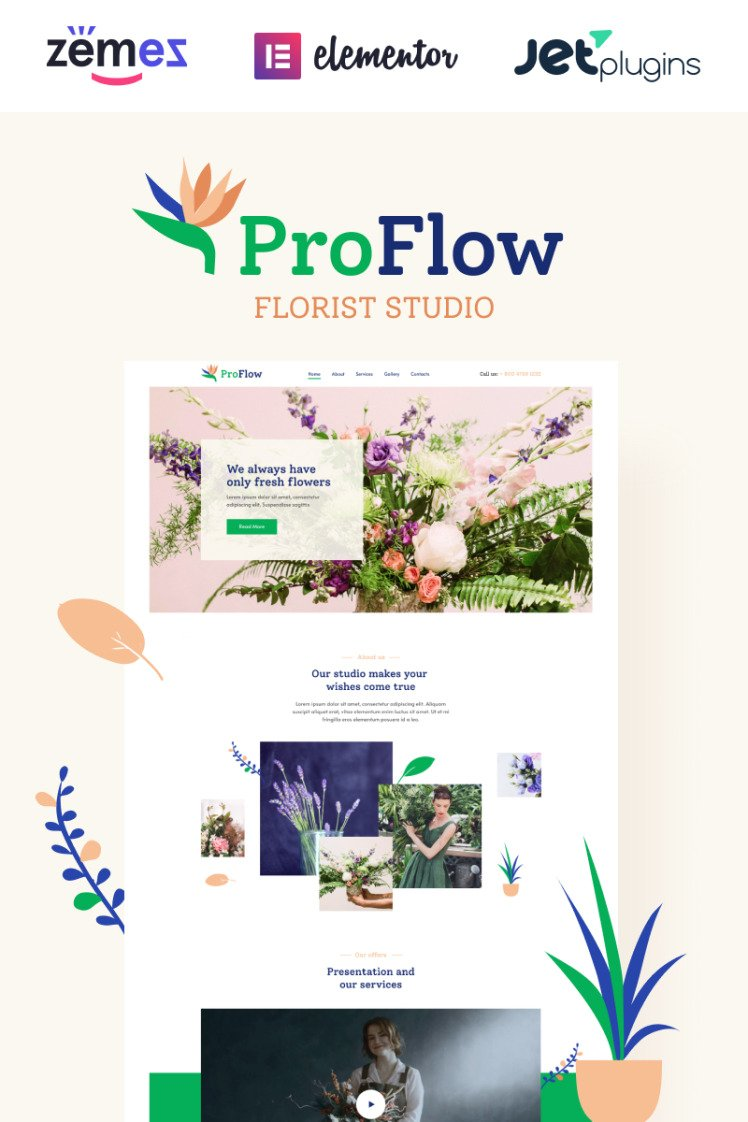 ProFlow Contemporary And Minimalistic Florist WordPress Theme