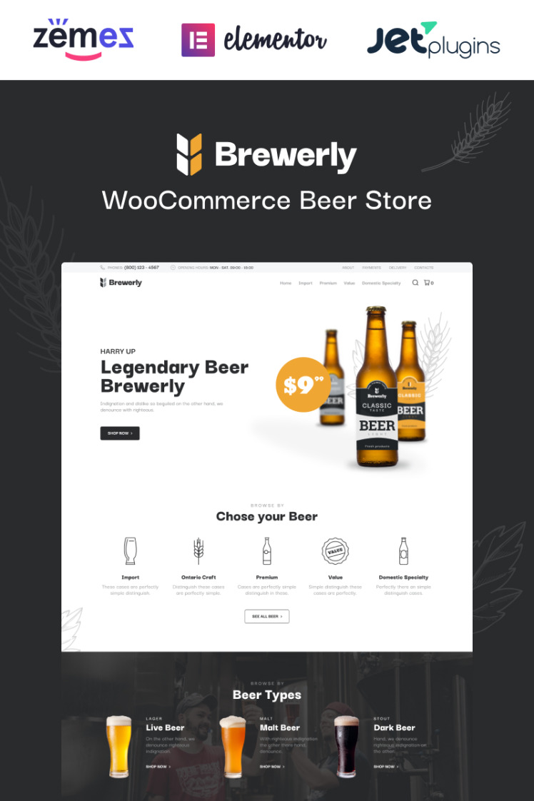 Brewerly Engaging And Multifunctional Beer Shop Template WooCommerce Themes