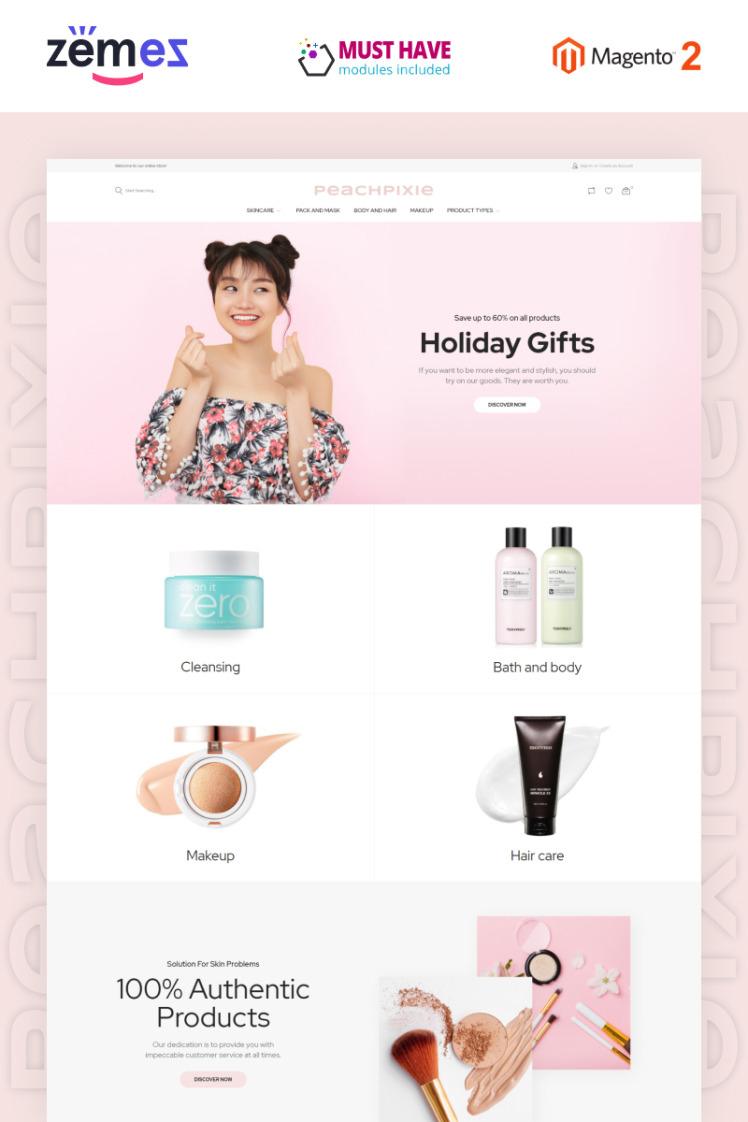 PeachPixie Korean Cosmetics Website Design Magento Themes