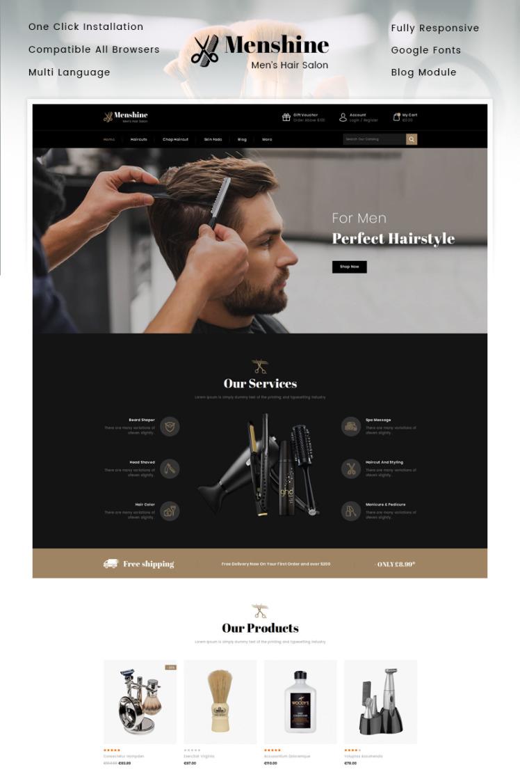 Menshine Hair Salon Store PrestaShop Themes