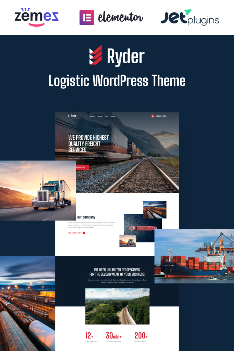 Ryder Logistic Website Design for Moving Companies WordPress Theme