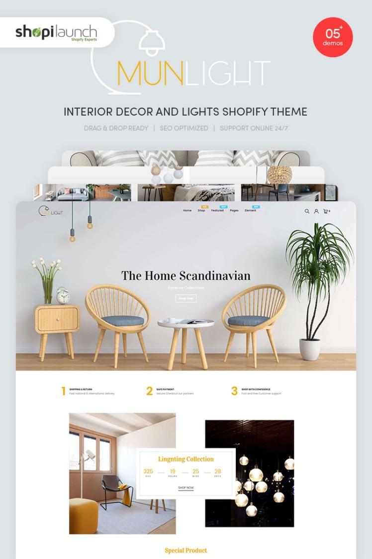 Munlight Interior Decor and Lights Shopify Theme