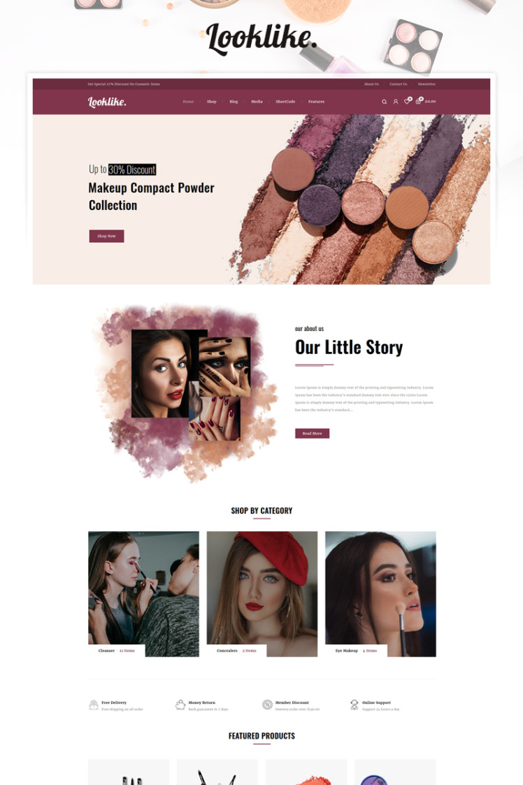 Looklike Cosmetics Store WooCommerce Theme