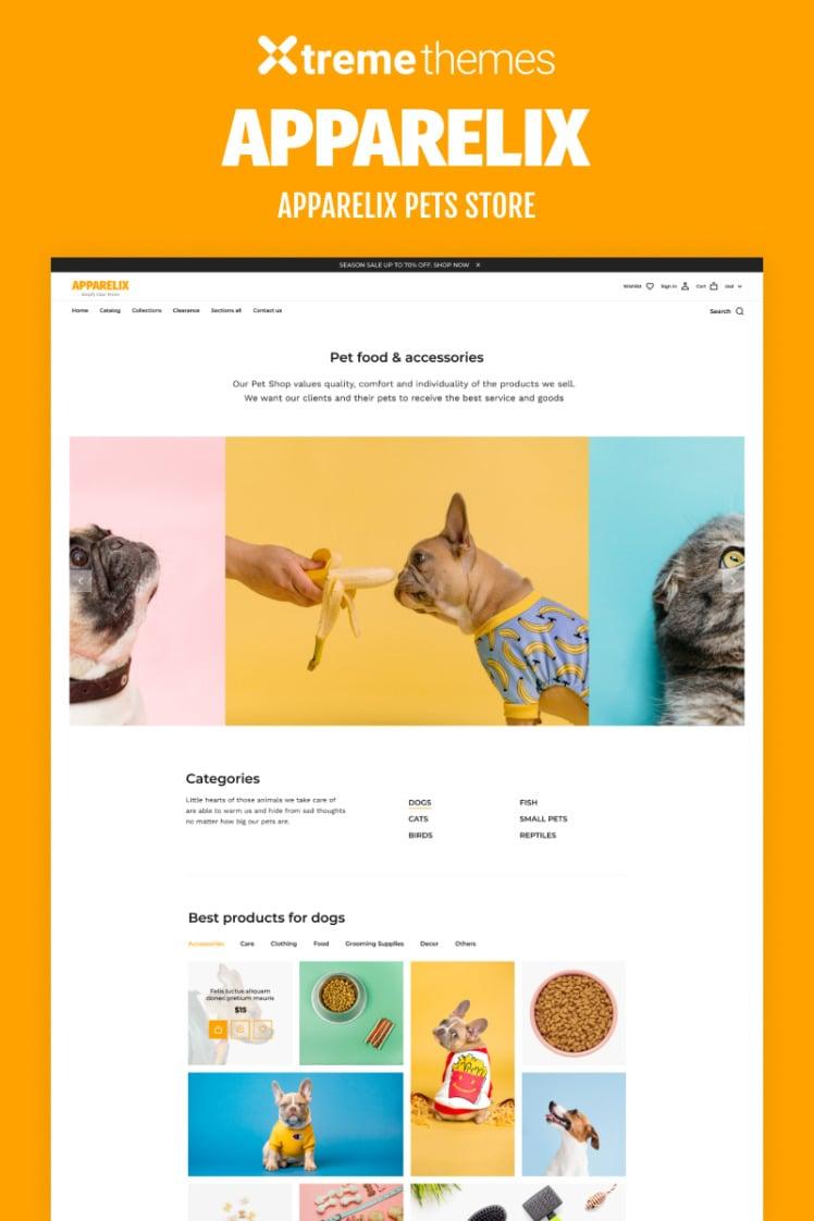 Apparelix Pets Online Store Template Shopify Theme