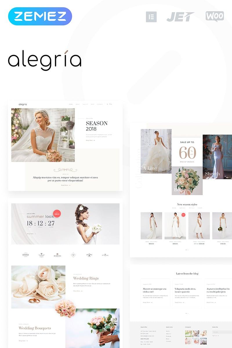 """""""Alegria - Wedding Salon Elementor"""" Responsive WooCommerce Thema №74902 - screenshot"""