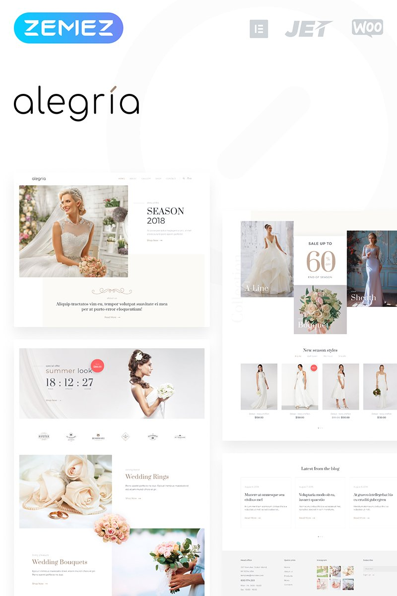 Alegria - Wedding Salon Elementor WooCommerce Theme - screenshot