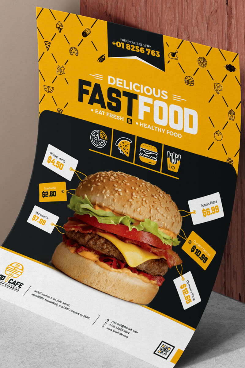Fast Food and Restaurant Poster Corporate Identity Template