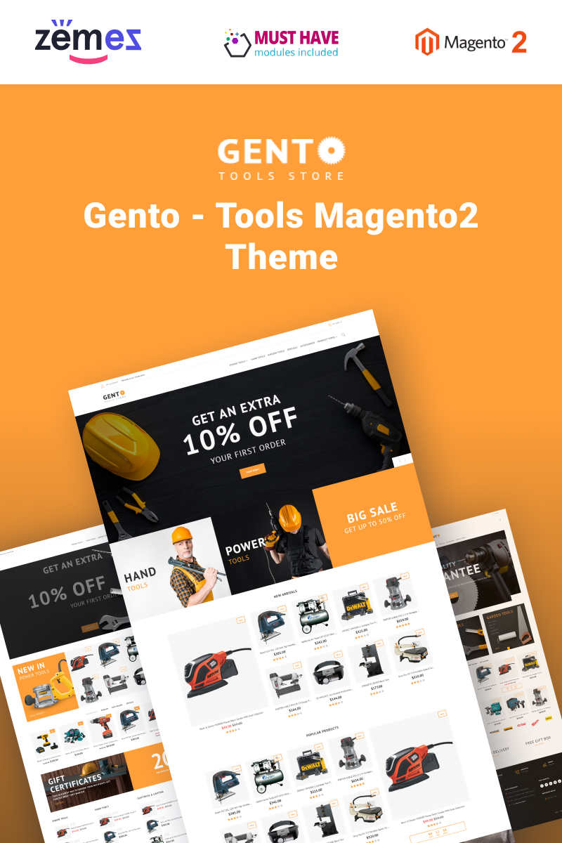 Gento - Hand Tools Store Design Magento Theme - screenshot