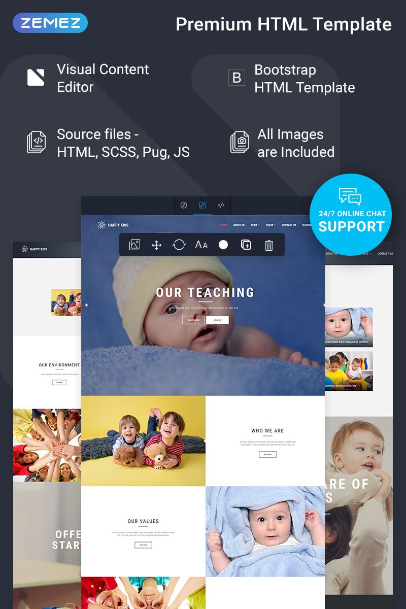 """Happy Kids - Nursery Ready-to-Use"" Responsive Website template №74915 - screenshot"