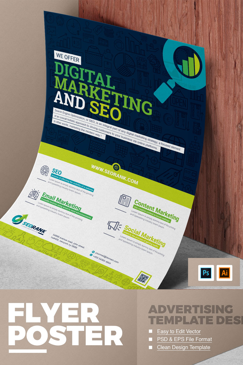 Marketing Flyer | Seo Digital Marketing Flyer Corporate Identity Template 74906
