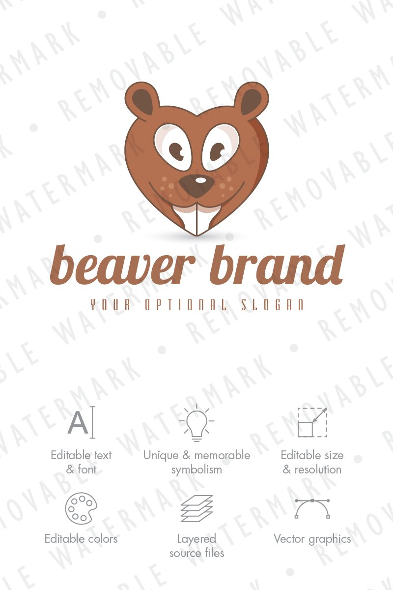 Beaver Love Logo Template 75058