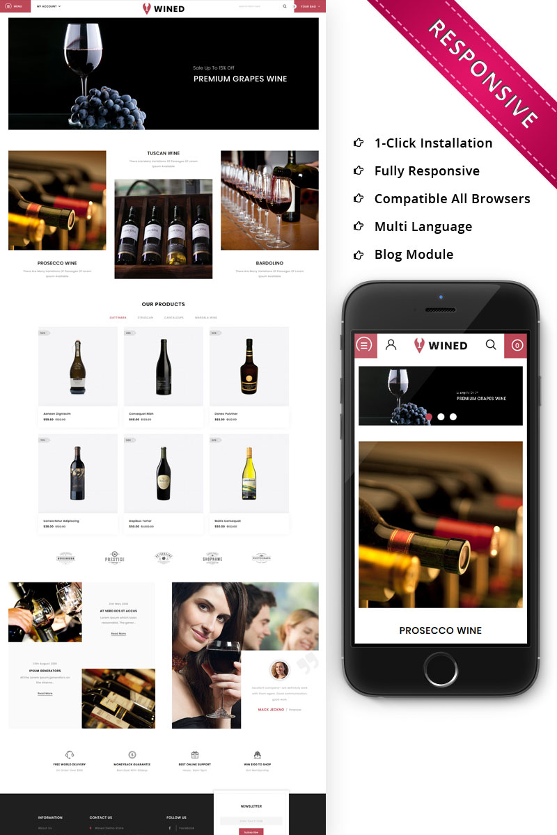Responsive Wined - The Wine Shop Opencart #75072