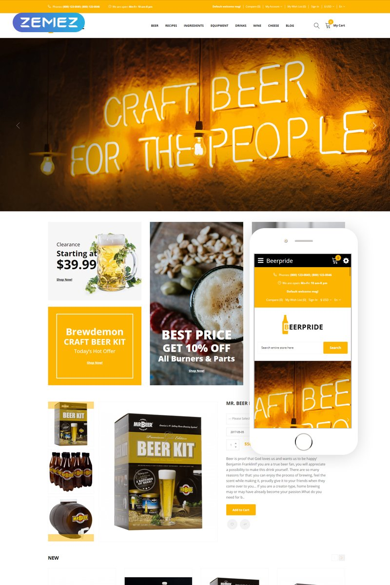 Beerpride - Homebrew Equipment & Supplies OpenCart Template