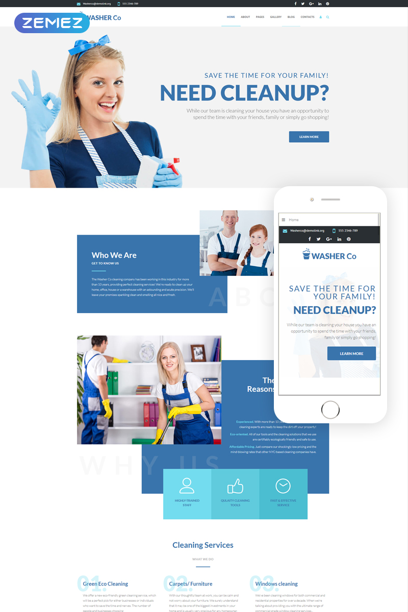 """Joomla Vorlage namens """"Washer Co - Cleaning Services"""" #75191"""
