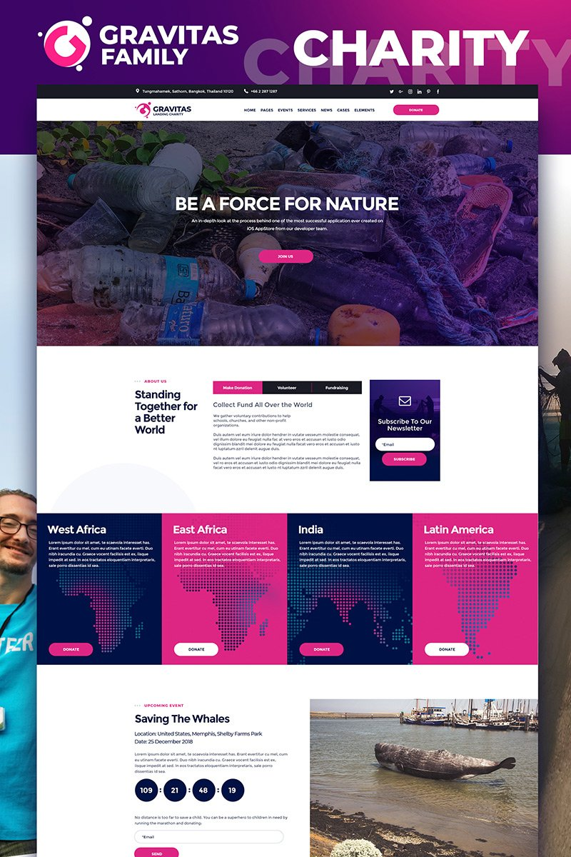 "Landing Page Template namens ""Gravitas - Charity MotoCMS 3"" #75187"