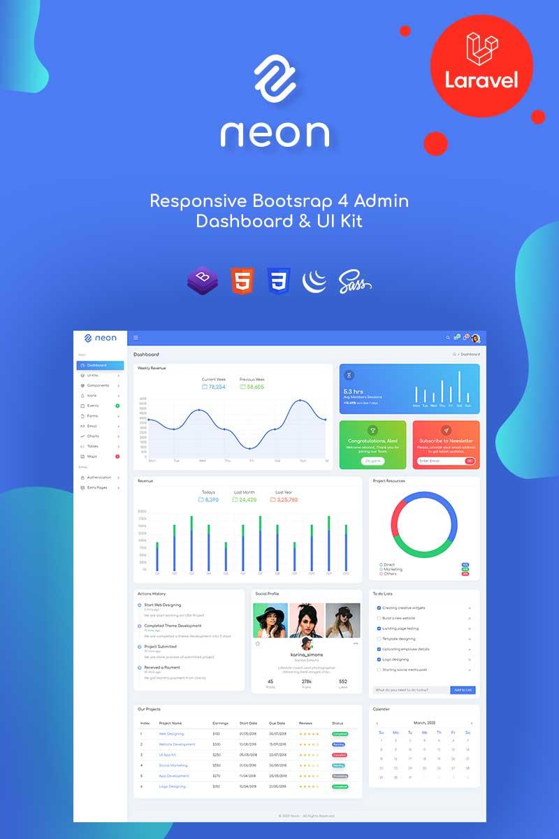 """Neon - Responsive Bootstrap & Laravel"" Responsive Admin Template №75197"