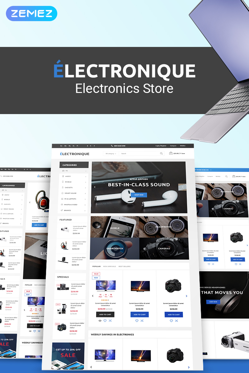 "Template PrestaShop Responsive #75172 ""Electronique - Electronics Store"""