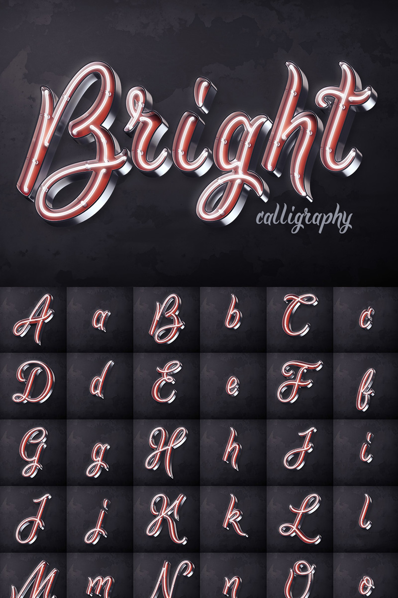 """""""Bright Calligraphy PSD"""" Lettertype №75295"""