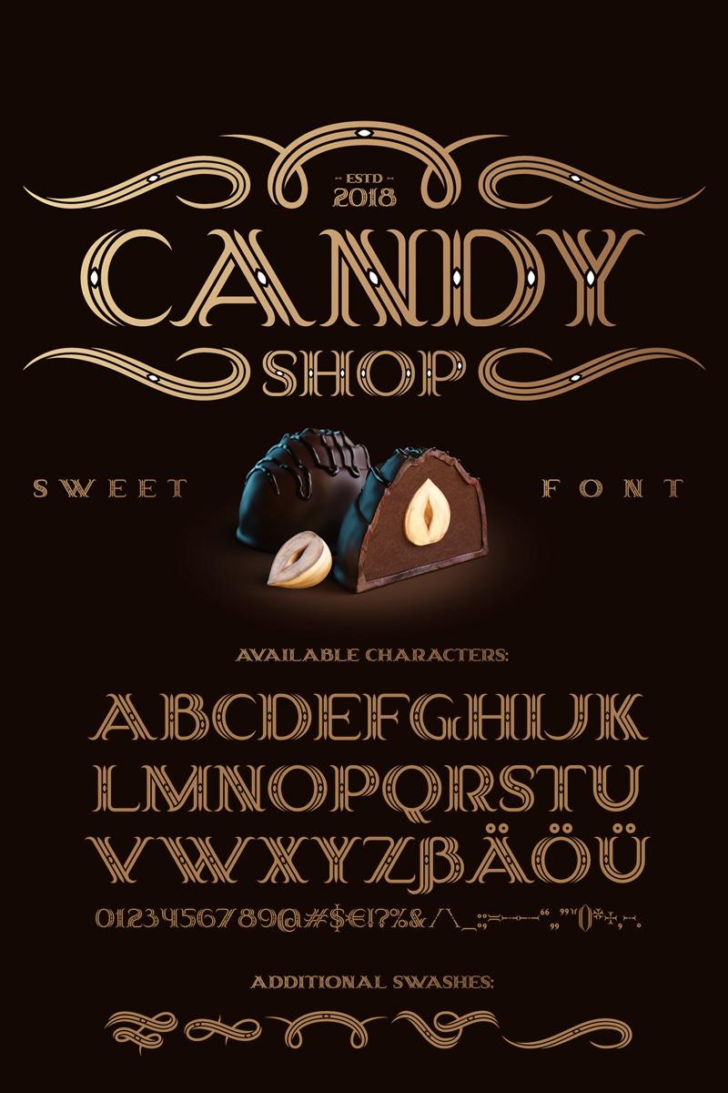 """""""Candy Shop Font with Bonus"""" police de caractère  #75272"""
