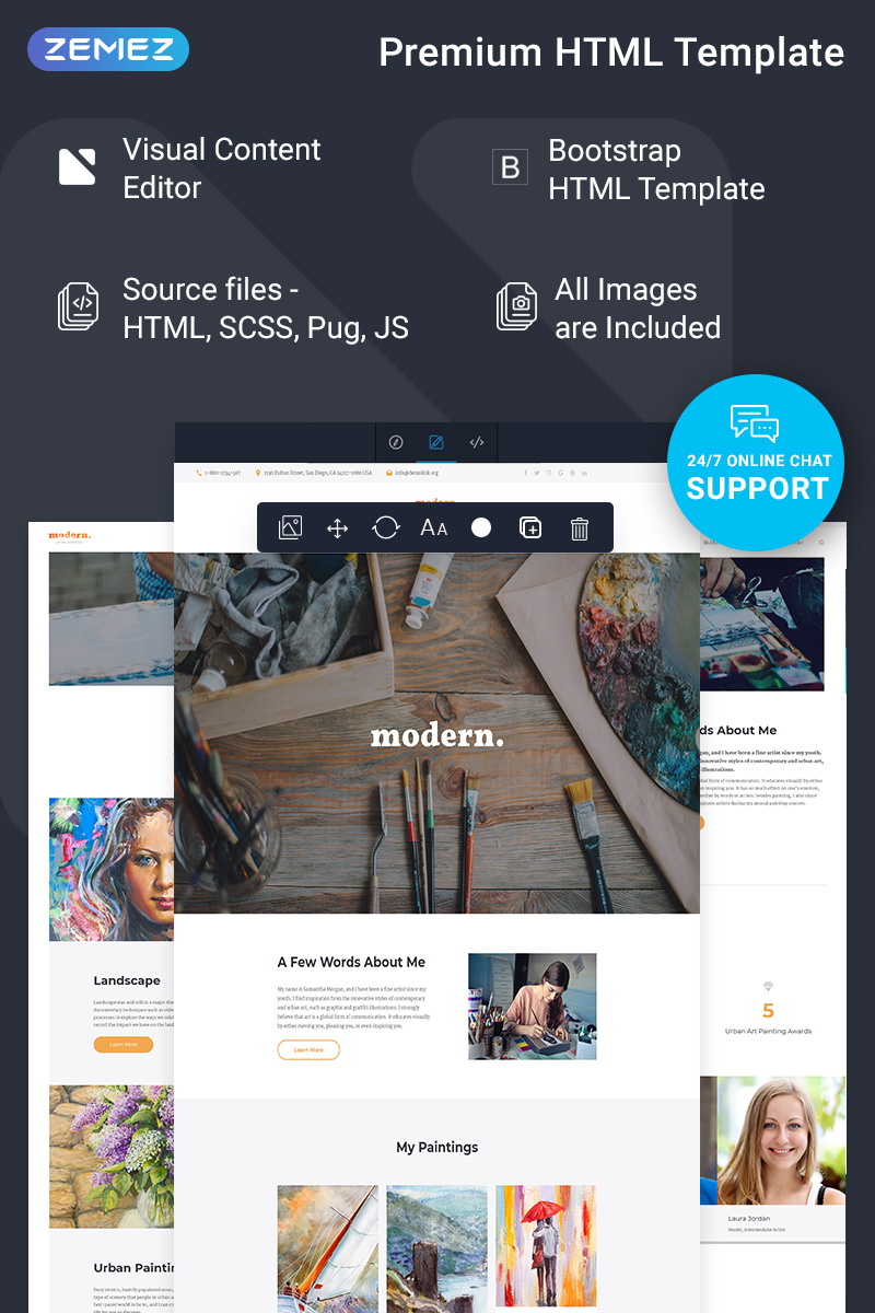 """Modern - Portfolio Ready-To-Use"" Responsive Website template №75215"