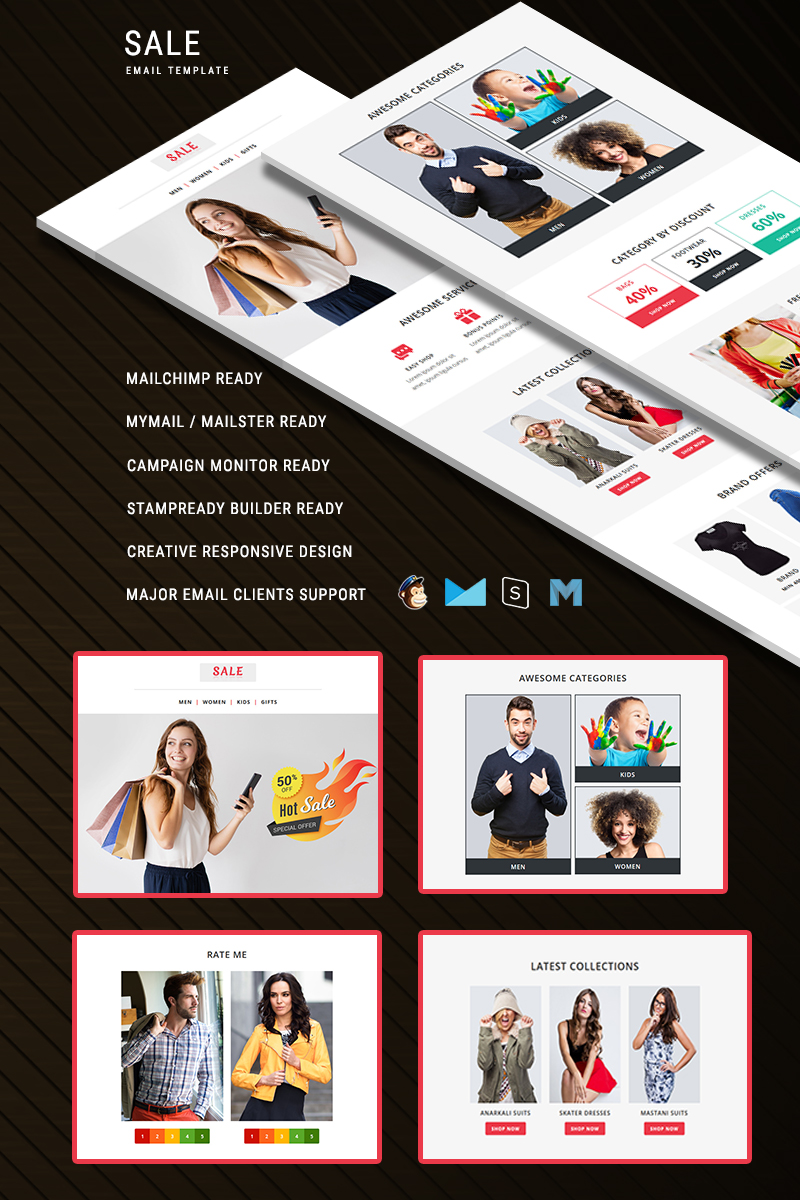 "Responzivní Newsletter šablona ""Sale - Responsive"" #75221 - screenshot"