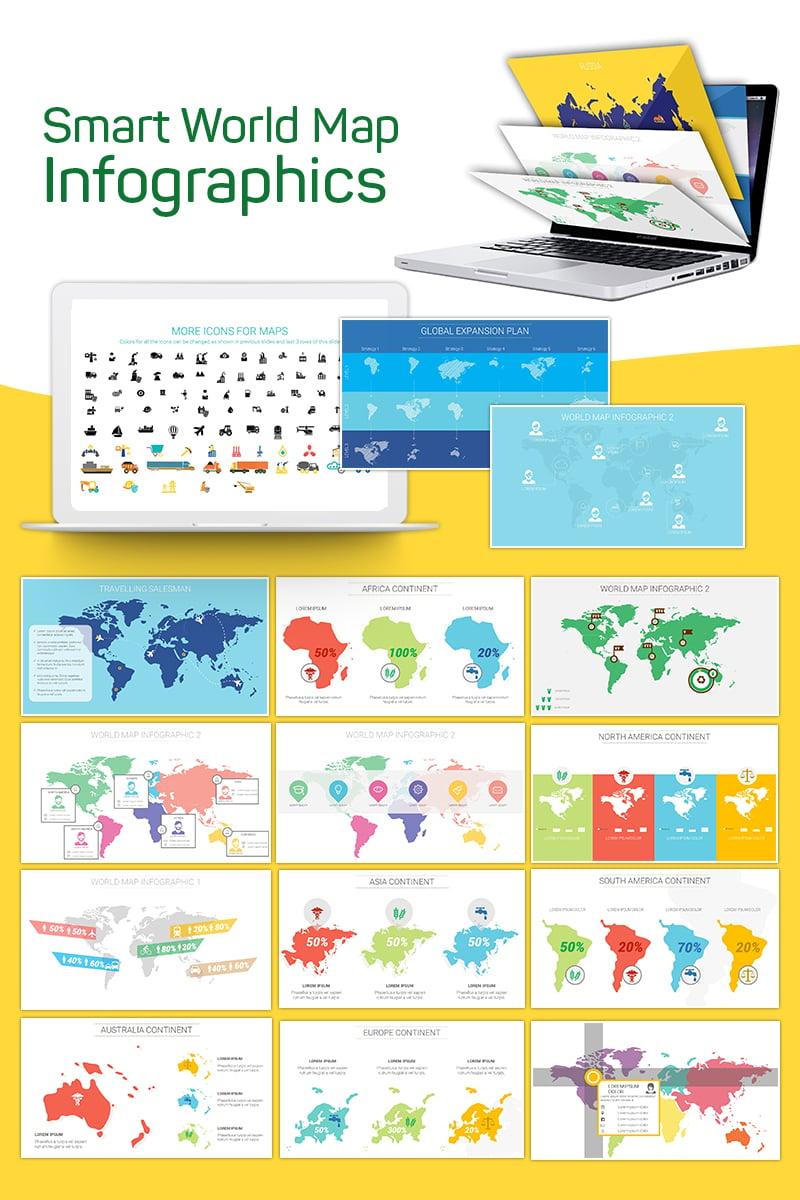 """Smart World Map Infographics"" PowerPoint 模板 #75227"