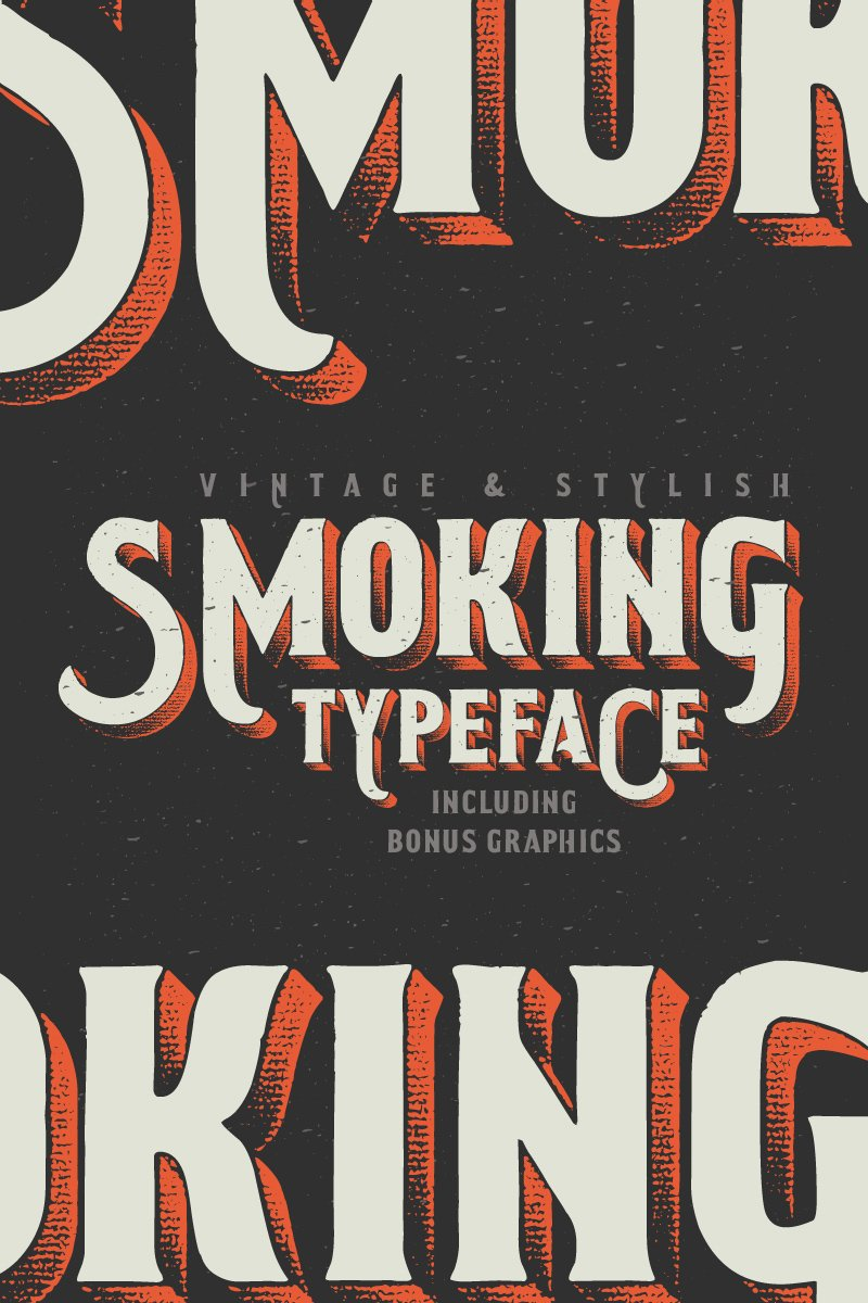 """Smoking Typeface + Illustration"" Lettertype №75274"