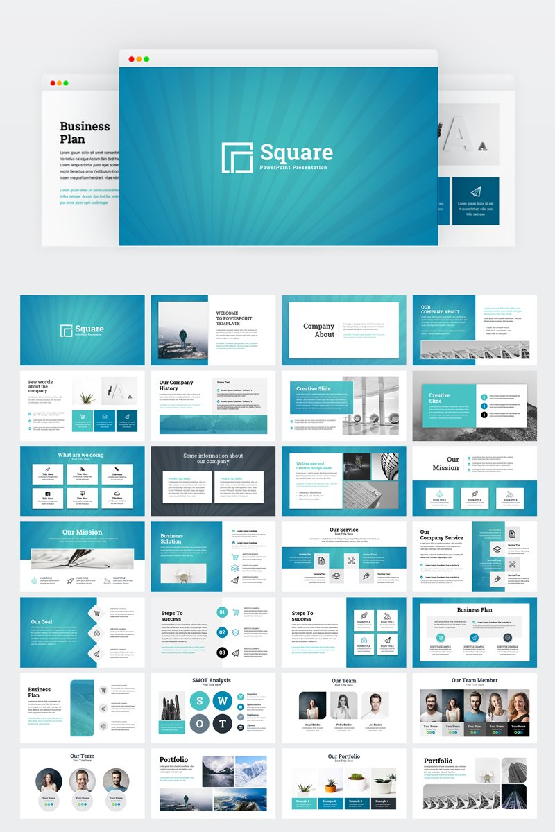 Square Creative Modern Business Plan Powerpoint Template
