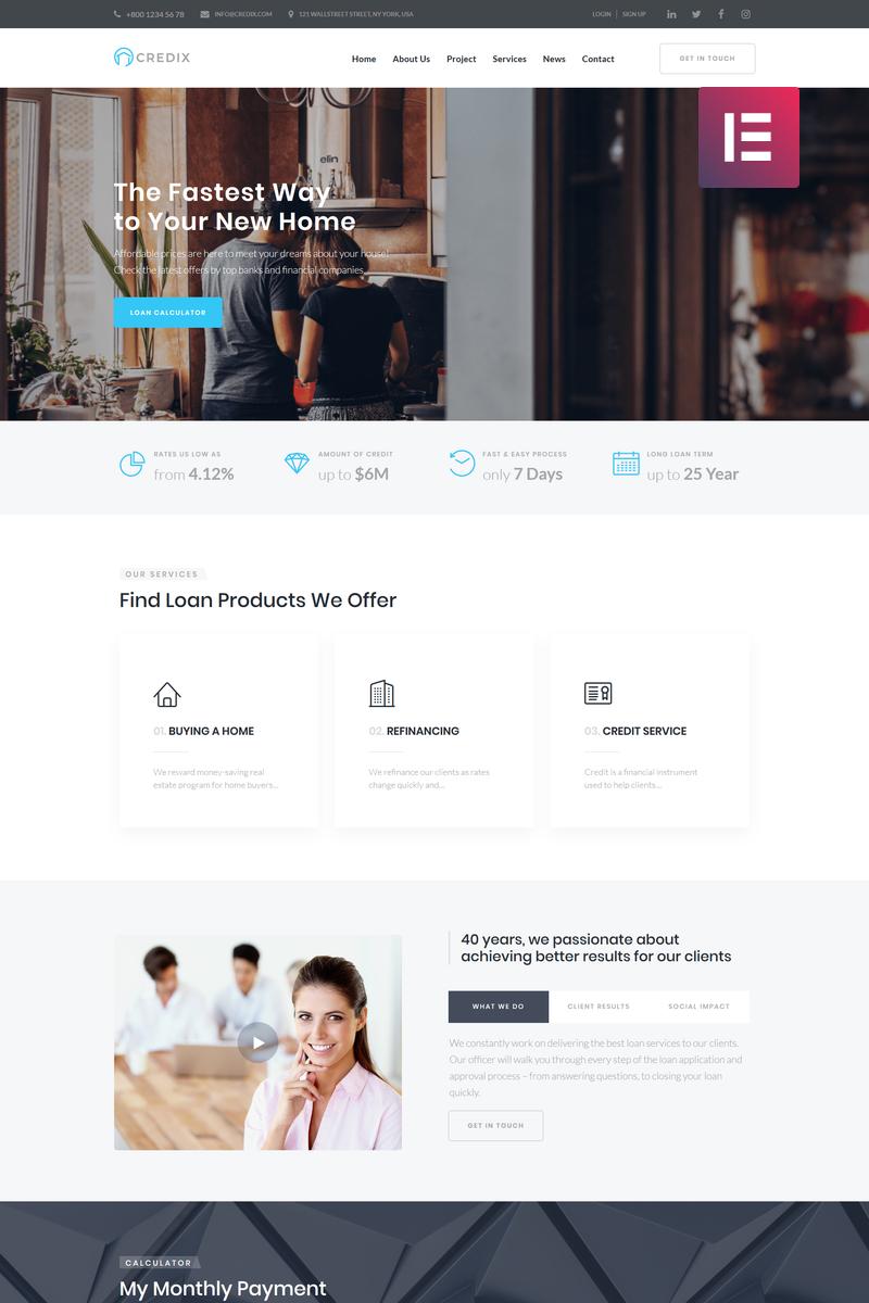 """Credix - Finance Multipurpose Minimal Elementor"" thème WordPress adaptatif #75304"