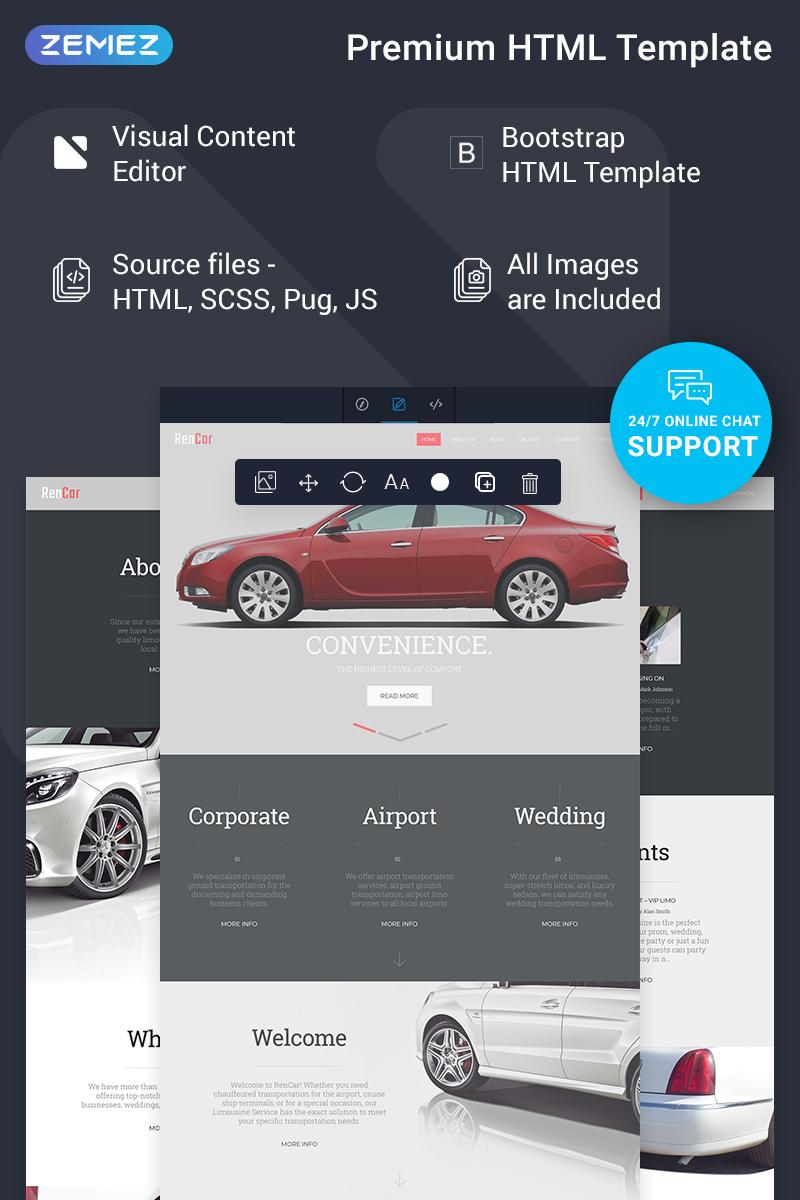 Reszponzív RenCar - Automobile Ready-to-Use Minimal Novi HTML Weboldal sablon 75317