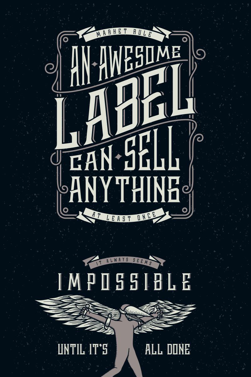 "Schriftart namens ""Whiskey Label + Design Elements"" #75301"