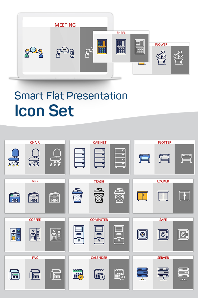 Smart Flat Presentation PowerPoint Iconset Template