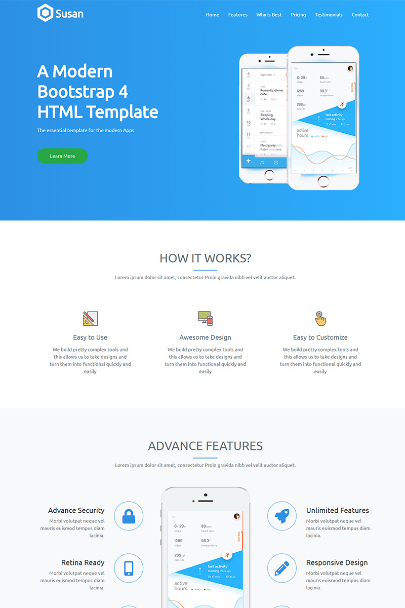 Susan - App Landing HTML5 Template Landing Page Template