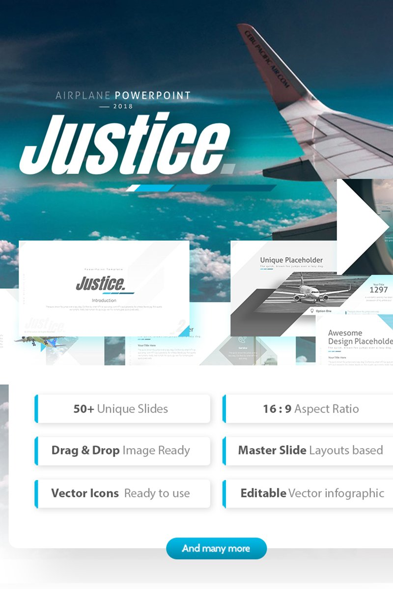 """Template PowerPoint #75322 """"Justice - Airplane Powerpoint Template"""" - screenshot"""