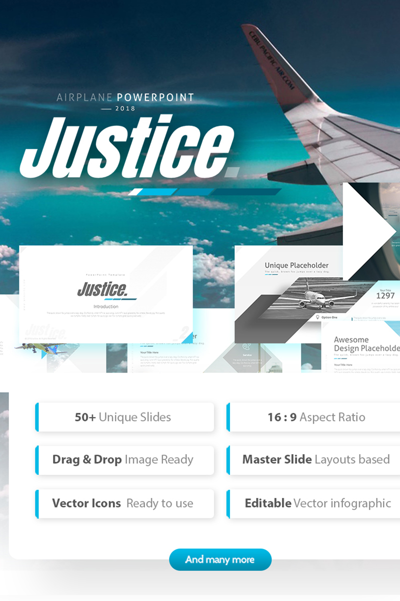 """Template PowerPoint #75322 """"Justice - Airplane Powerpoint Template"""""""