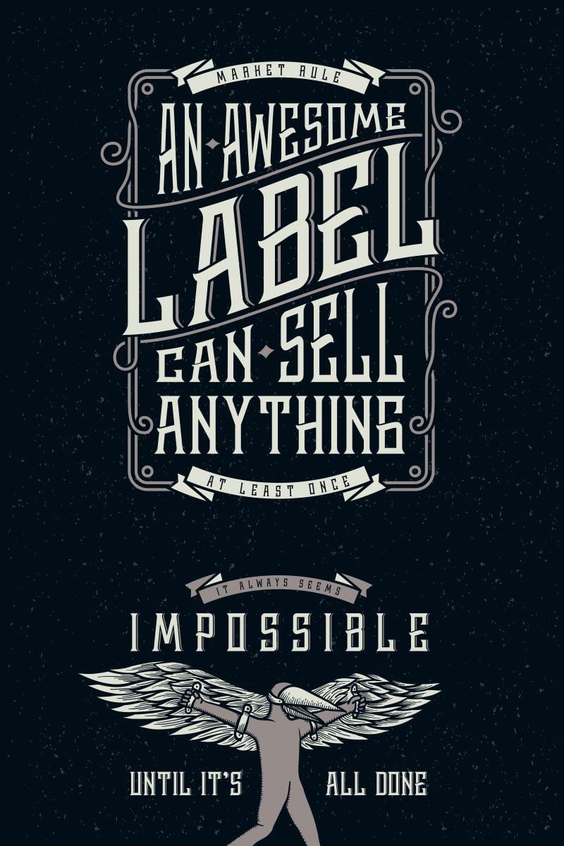 Whiskey Label + Design Elements Font #75301