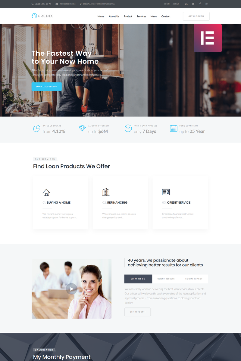 "WordPress Theme namens ""Credix - Finance Multipurpose Minimal Elementor"" #75304"