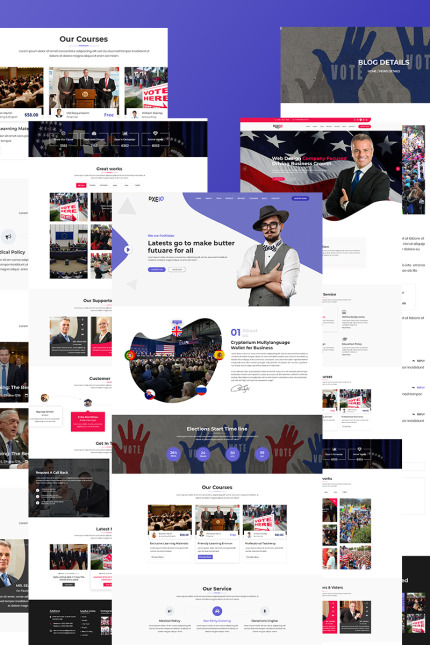 Website Design Template 75402 - election organization political politician politics republican