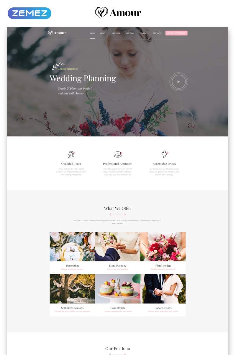 """""""Amour - Wedding Multipage Clean Bootstrap HTML"""" Responsive Website template №75448"""