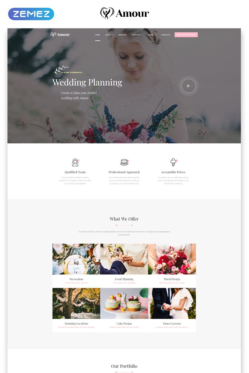 """""""Amour - Wedding Multipage Clean Bootstrap HTML"""" 响应式网页模板 #75448"""