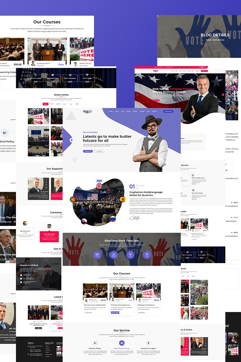 Bootstrap Pxeio - Political Landing Page-mall #75402