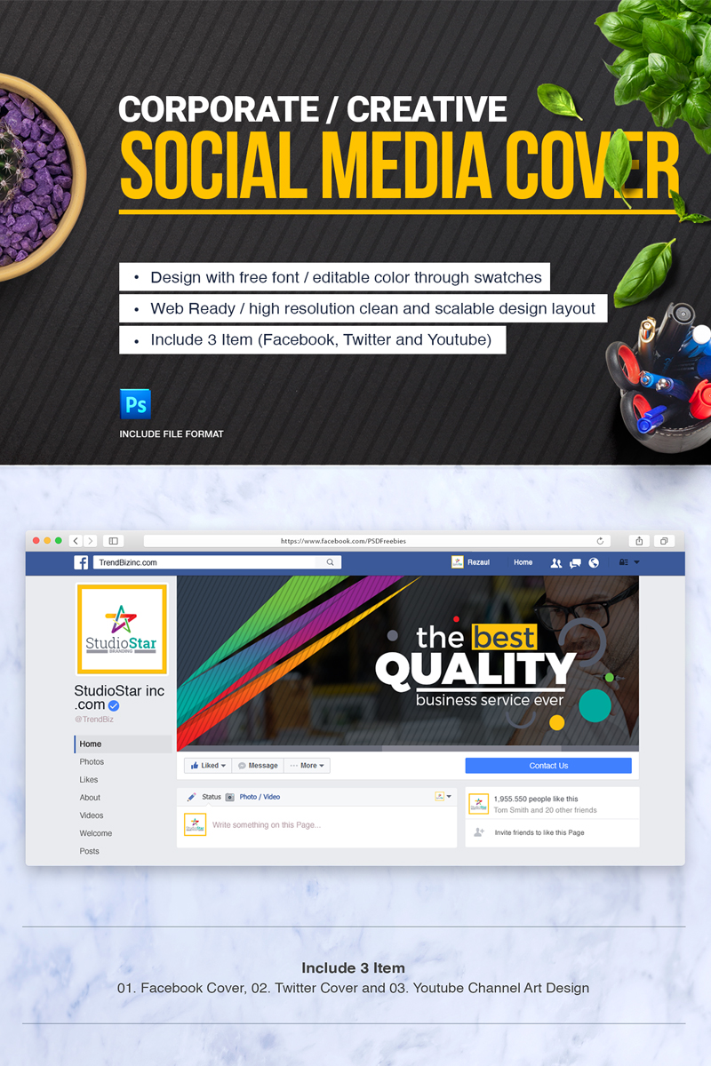 Cover Design (Facebook, Twitter and YouTube) Social Media - screenshot