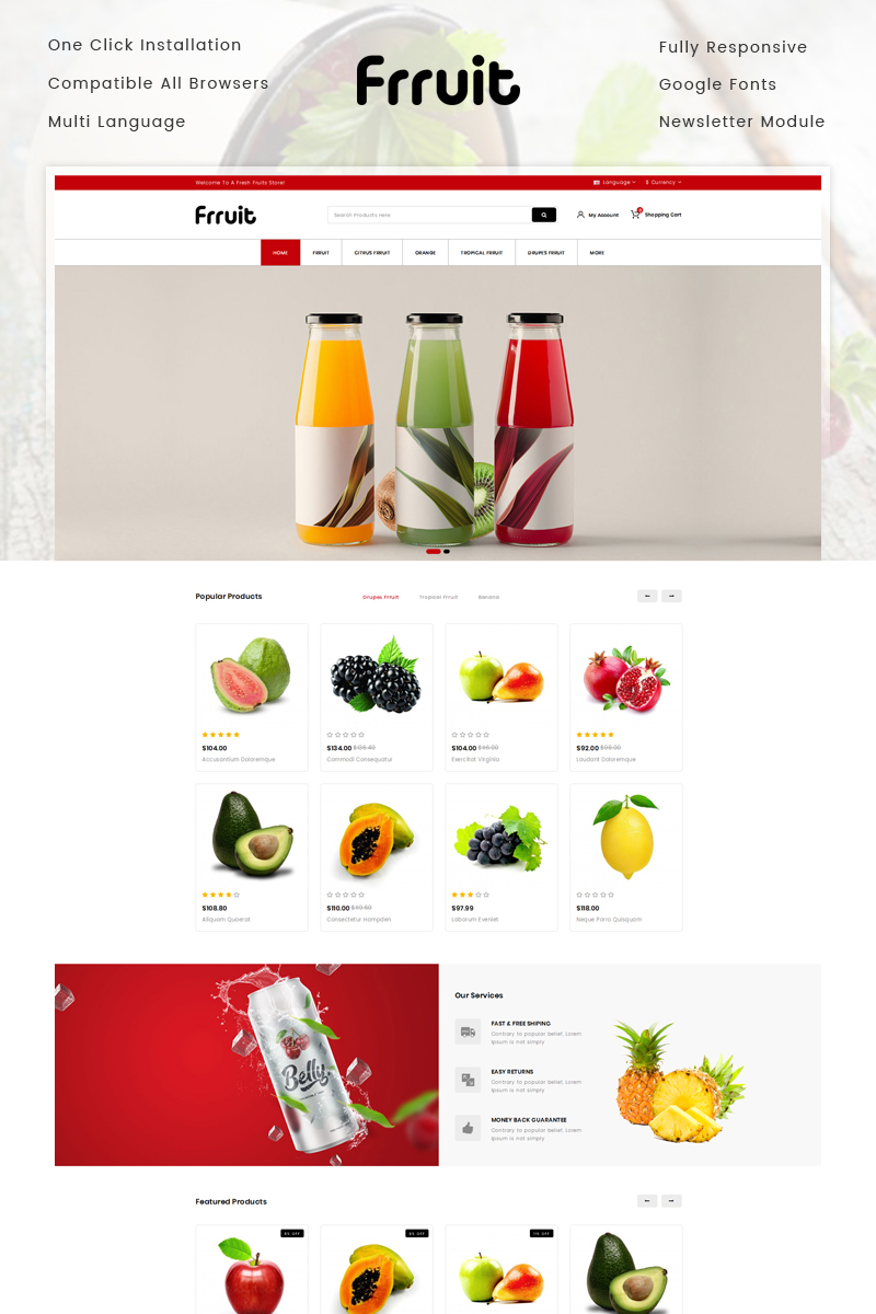 Fresh Fruits Store OpenCart Template