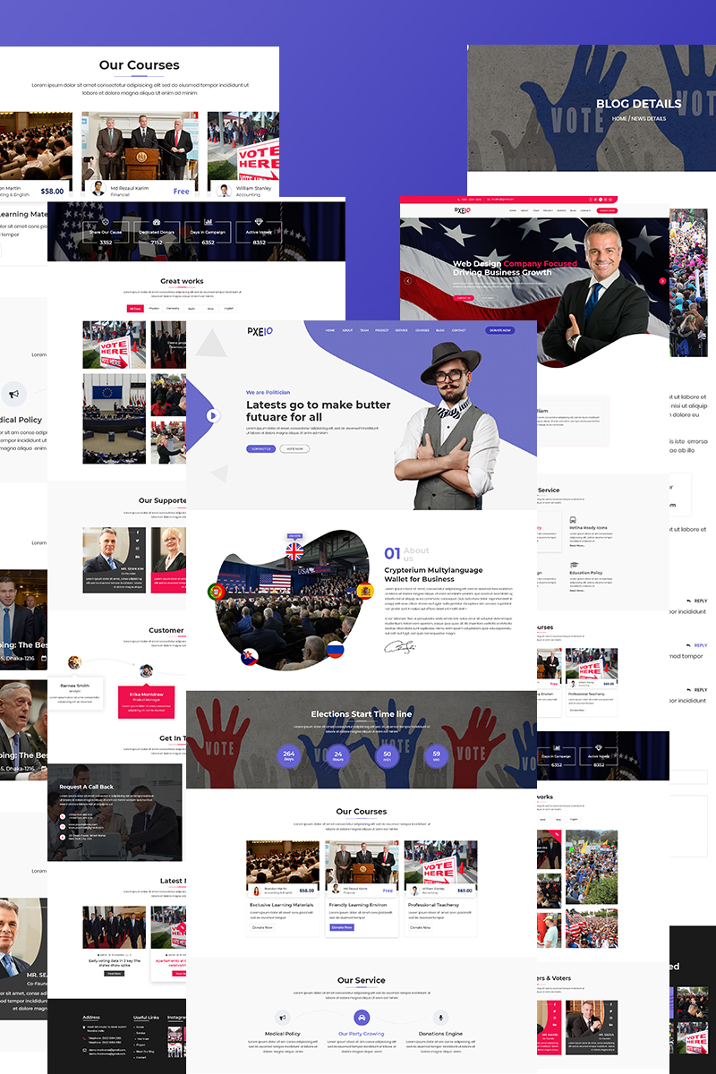 "Landing Page Template namens ""Pxeio - Political"" #75402"